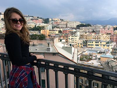 Senior MAT student, Carli Holbrook, looks out over Genova, Italy during her participation in UK's semester-long program with IED