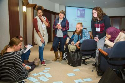 Dialogue participants educated themselves on common hunger terminology during one exercise.   PHOTO: Matt Barton, UK Agricultural Communications