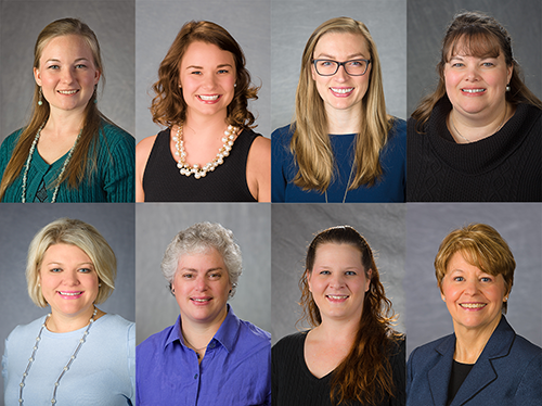 Top Row: Elizabeth Coots, Whitney Hilterbran, Dr. Heather Norman-Burgdolf, Mindy McCulley. Bottom Row: Amanda Hardy, Diane Mason, Dr. Kerri Ashurst, and Dr Janet Kurzynske
