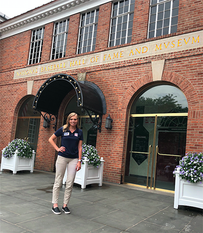 Brooklyn Del Barba, a senior majoring in hospitality management and tourism, is enjoying a once in a lifetime opportunity as an intern at the Baseball Hall of Fame.