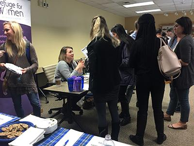 FAC members had the chance to meet with various employers at the Fall 2015 Family Sciences Career Fair. In the above photo, students listen to a presentation given by the Refuge for Women organization.