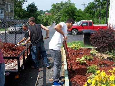 new bedding plants and shrubbery being landscaped at the Fleming County Extension Office.