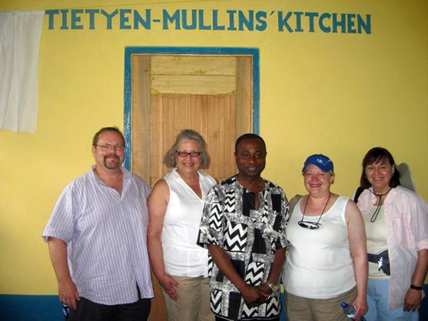 (from l to r) Doug Mullins, Janet Mullins, Kwaku Addo, Ann Vail and Kim Spillman at Tietyen-Mullins Kitchen in the KEHA Dining Pavilion at the Kentucky Academy.
