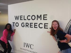 Students at Welcome to Greece sign