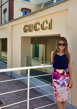 Carli had the opportunity to visit the Gucci headquarters during her stay in Italy.