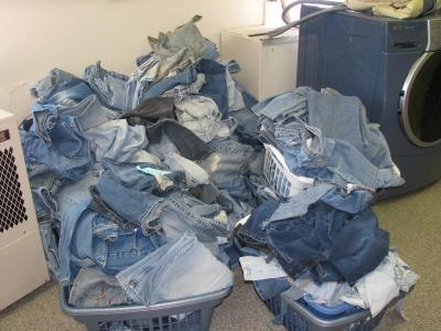 Bins of blue jeans