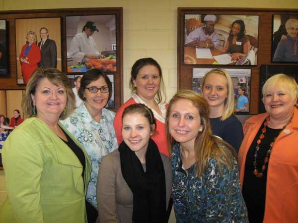 Pictured from left to right –  Front row: Dr. Cherry Kay Smith, Kendyl Whaley, Emily Keith, and Dr. Ann Vail Back row: Ann Schultz, Julia Branstetter, Danielle Barrett