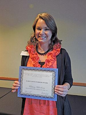 Karen Davis Parker: Whitney Hilterbran, Scott County Extension Agent for Family and Consumer Sciences, was honored as the Karen Davis Parker Outstanding Extension Agent