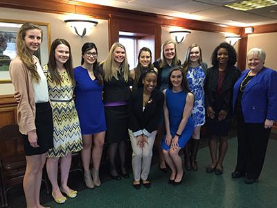 Current Iota Chapter members and new initiates with Mrs. Melissa Martin, Executive Director of Phi Upsilon Omicron, and Dr. Ann Vail, Director, School of Human Environmental Sciences. From left to right: (front row) Azia Rouse and Brynnan Jacobs (back row