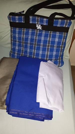 Fabric purchased at the Koforidua market for sewing school uniforms