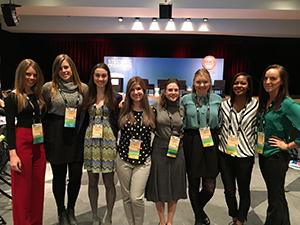 MAT students (from left to right) Carli Holbrook, Lauren Watkins, Kristina Rosen, Felicia Mings, Madison Elder, Ellen Waymire, Rachelle Durham and Anna Trenkamp at the NRF BIG Show.