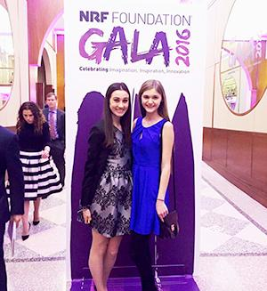 NRF Rising Star Kristina Rosen (left) attends the NRF Foundation Gala with Florida State University's NRF Rising Star who she met during the NRF BIG Show.