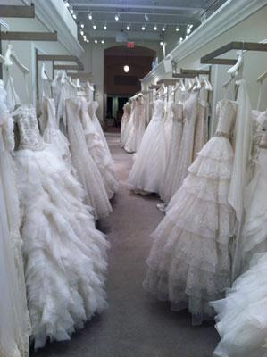Gowns on display at Kleinfeld Bridal in New York City