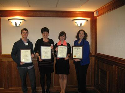 From left to right: Brett Dickens, Outstanding Senior; Monica Fowler, Outstanding Master's Student; Amy Leavell Cooper, Outstanding Senior; and Representative Tanya Pullin, Outstanding Alumnus