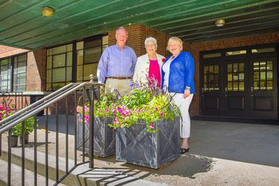 The front porch and entrance to Erikson Hall has been improved with a new splash of color thanks to Human Environmental Sciences (HES) alumnus Nancy Wills and her husband, Steve, an alumnus of the College of Agriculture
