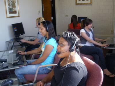 Research Students in call center