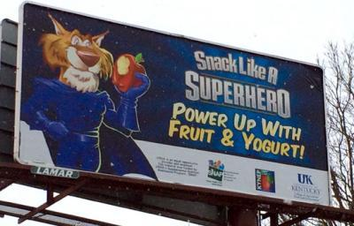 "Billboards that promote ""Snacking Like a Superhero"" are located across the state."