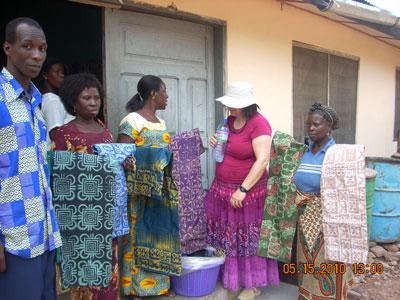 Women selling fabric in Abonse, Ghana