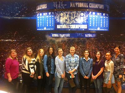Advisor Avery Malone and RTM Club members visited Rupp Arena where they were able to get a behind  the scenes look at the Men's Basketball locker rooms and Coach Calipari's office.