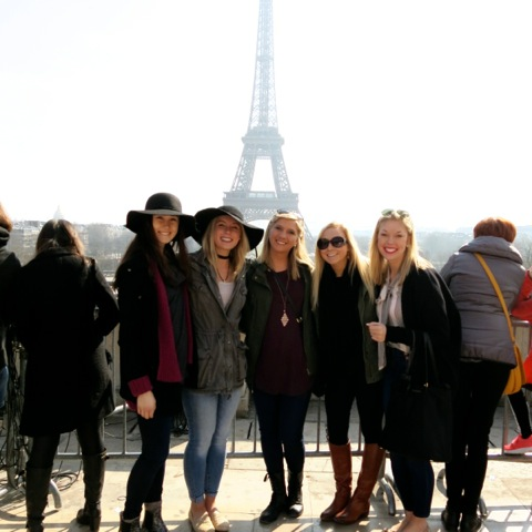Students (from left to right) Kristina Rosen, Taylor Camacho, Madison Arms, Elizabeth Neyer and Lexy Freeman in front of the Eiffel Tower.
