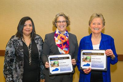 Dr. Sandra Bastin (center), Extension Professor and Chair of the UK Department of Dietetics and Human Nutrition, and Debbie Clouthier (right), Agriculturall Extension Associate in the UK Department of Family and Consumer Sciences, were part of the group t