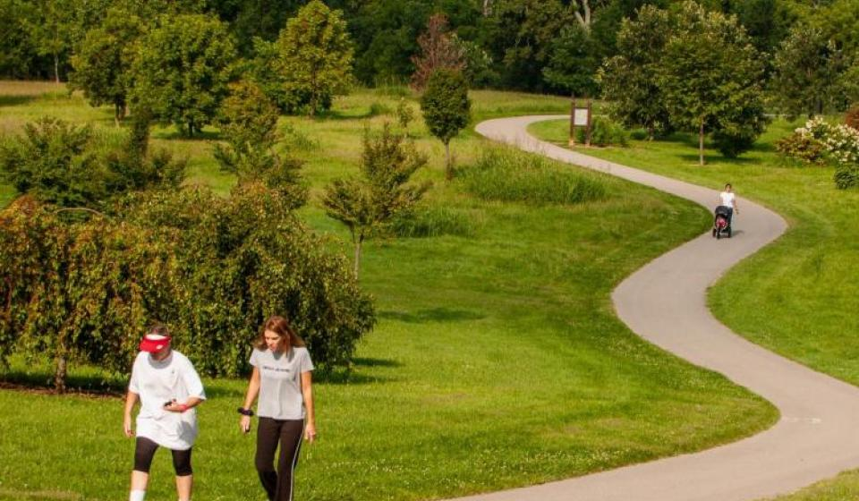 Walkers at the University of Kentucky's Arboretum. Photo by Steve Patton.
