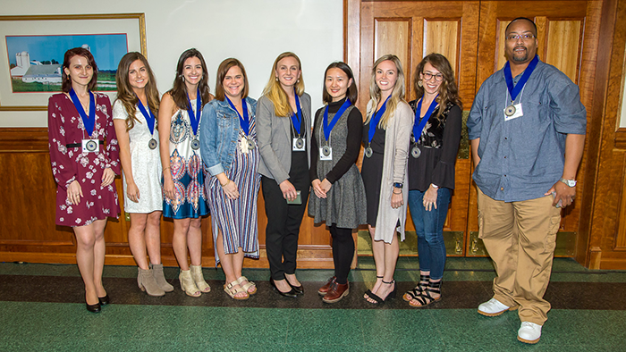 Picture left to right: Magda Javakishvili, Virginia Groppo, Alyssa Campbell, Sarah Butterbaugh, Austyn Erickson, Dan Liu, Kelci McHugh, Allison Smith and Phillip Thompson. Not picture: Nick Fazzino
