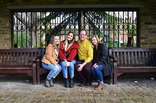 Dr. Jason Swanson and three students spent the spring 2019 semester abroad in London. They are, from left,  Arizzona Albright, Catie Archambeau, and Emma Rosenzweig.