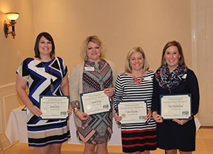 From left to right: Amanda Dame, Amanda Hardy, Katie Alexander and Mary Higginbotham, recipients of the Program Achievement (not pictured: Tiffany Calvert and Melanie Bealmear)