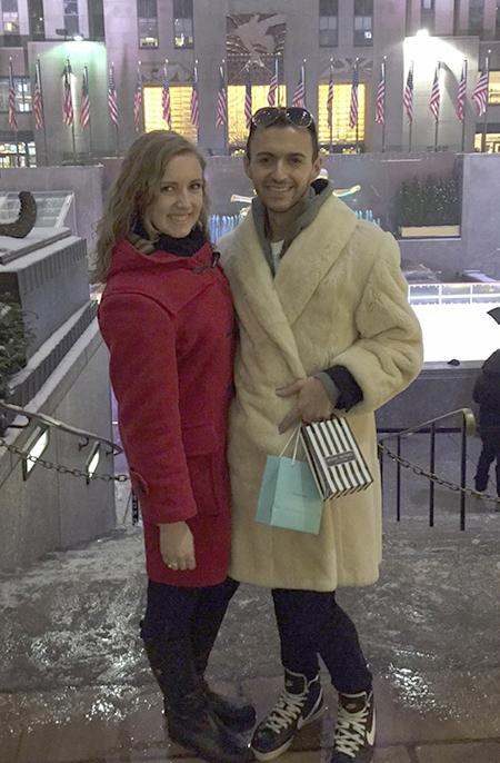 Sarah Macke and Nick Fazzino enjoying their spare time while shopping on Fifth Avenue in front of the Rockefeller Center.